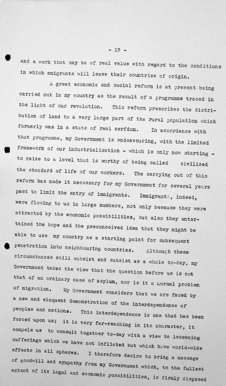 Rede von Primo Villa Michel (Mexiko) in der öffentlichen Sitzung am 9. Juli 1938, 11 Uhr, S. 3/4 Franklin D. Roosevelt Library, Hyde Park, NY