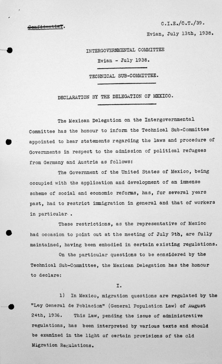 Erklärung der Delegation Mexikos für das Technische Unterkomitee, 13. Juli 1938, S. 1/3 Franklin D. Roosevelt Library, Hyde Park, NY