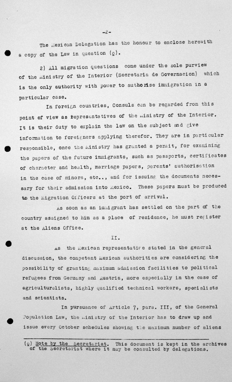 Erklärung der Delegation Mexikos für das Technische Unterkomitee, 13. Juli 1938, S. 2/3 Franklin D. Roosevelt Library, Hyde Park, NY