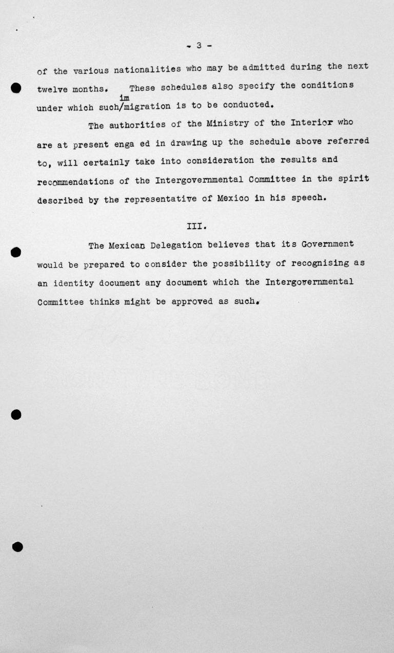 Erklärung der Delegation Mexikos für das Technische Unterkomitee, 13. Juli 1938, S. 3/3 Franklin D. Roosevelt Library, Hyde Park, NY
