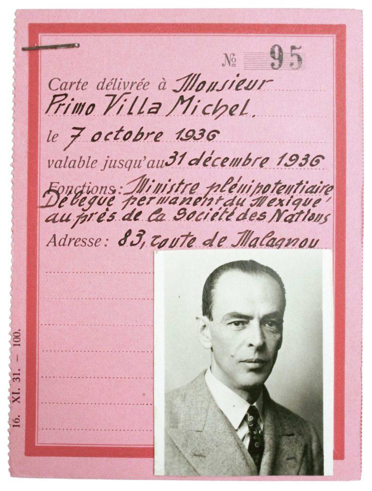 Primo Villa Michel, Akkreditierung als mexikanischer Delegierter beim Völkerbund in Genf, um 1936 Schweizerisches Bundesarchiv, Bern, E2001C#10001535#B.56.5.7