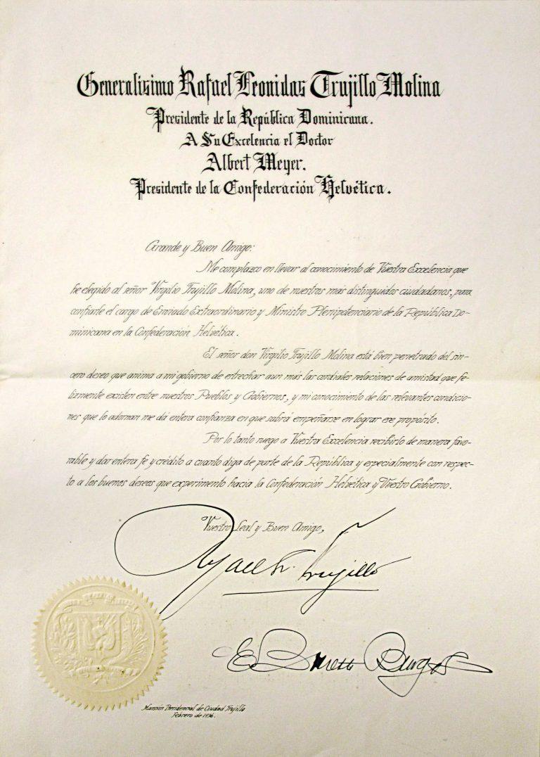 Ernennungsurkunde für Virgilio Trujillo zum Gesandten in der Schweiz Schweizerisches Bundesarchiv, Bern, E2001D#10001552#998