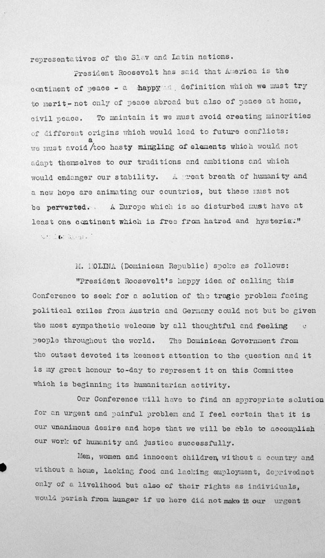 Rede von Virgilio Trujillo Molina (Dominikanische Republik) in der öffentlichen Sitzung am 9. Juli 1938, 11 Uhr, S. 1/2 Franklin D. Roosevelt Library, Hyde Park, NY