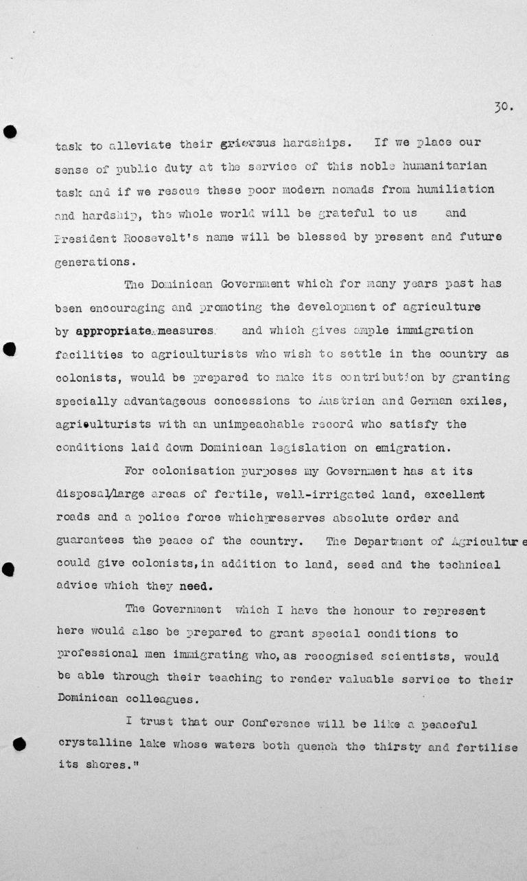 Rede von Virgilio Trujillo Molina (Dominikanische Republik) in der öffentlichen Sitzung am 9. Juli 1938, 11 Uhr, S. 2/2 Franklin D. Roosevelt Library, Hyde Park, NY