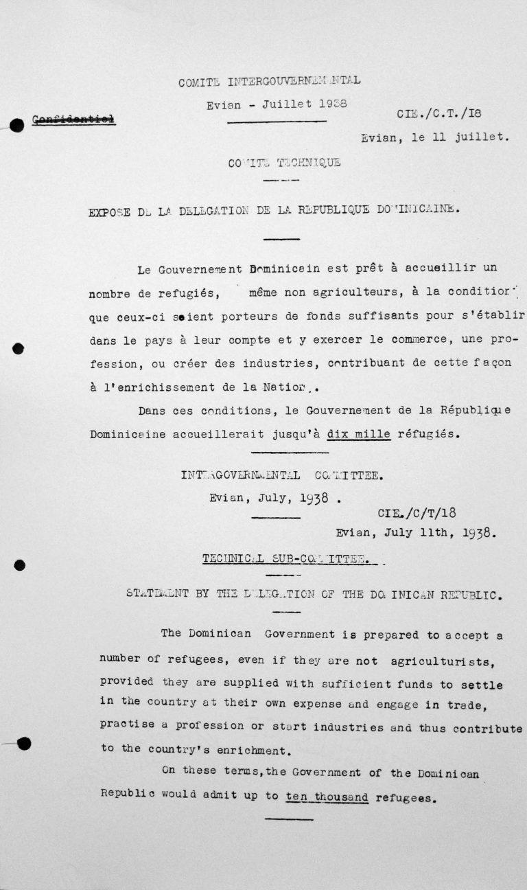 Stellungnahme der Delegation der Dominikanischen Republik für das Technische Unterkomitee, 11. Juli 1938 Franklin D. Roosevelt Library, Hyde Park, NY