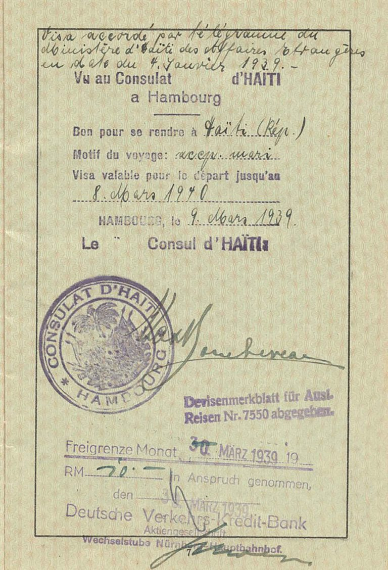 "Nürnberg-Fürth police headquarters: passport for Auguste Mohr with Haitian entry visa, March 7, 1939 Auguste Mohr's passport, which already bears the compulsory Jewish name ""Sara"" and is stamped with the letter ""J,"" holds an entry visa from the Haitian consulate in Hamburg, dated March 9, 1939, and is valid for one year. With the confirmation of this visa, Auguste Mohr attains the release of her husband Ernst, who has been imprisoned in the Dachau concentration camp since the November pogrom in 1938, and is able to immigrate to Haiti with him and their two small children. Private collection Harriet und Bill Mohr, Menlo Park, CA"