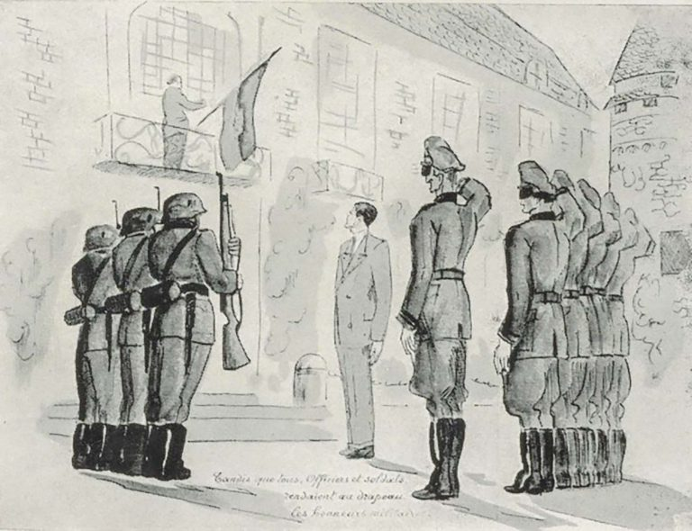 German military officers salute the flag of the first black republic, drawing by Noel Thébaud, ca. 1940 In June 1940, German soldiers briefly seize the Thébaud family's country estate in Bailleul-Sur-Thérain in northern France and remove the flag of the Republic of Haiti from its balcony. Following Léon Robert Thébaud's intervention with the German field command, the flag is restored to its place with military honors. Grasset Baron Surcouf, Léon Robert Thébaud: un diplomate Haïtien ami de la France, Paris 1949