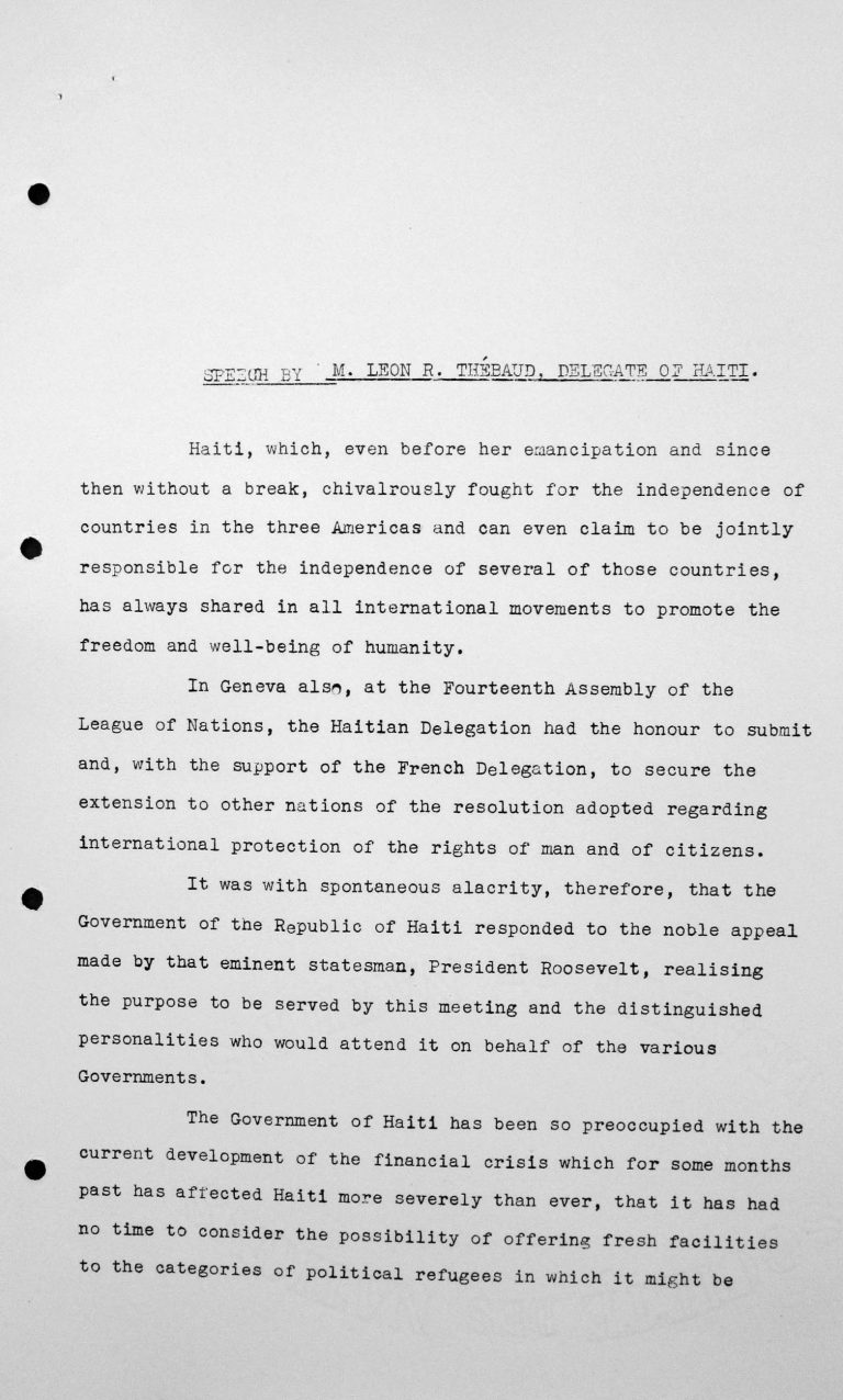 Speech by Léon R. Thébaud (Haiti) in the public session on July 11, 1938, 11am, p. 1/3 Franklin D. Roosevelt Library, Hyde Park, NY