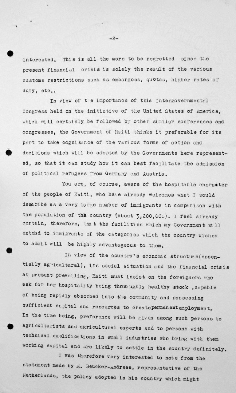 Speech by Léon R. Thébaud (Haiti) in the public session on July 11, 1938, 11am, p. 2/3 Franklin D. Roosevelt Library, Hyde Park, NY