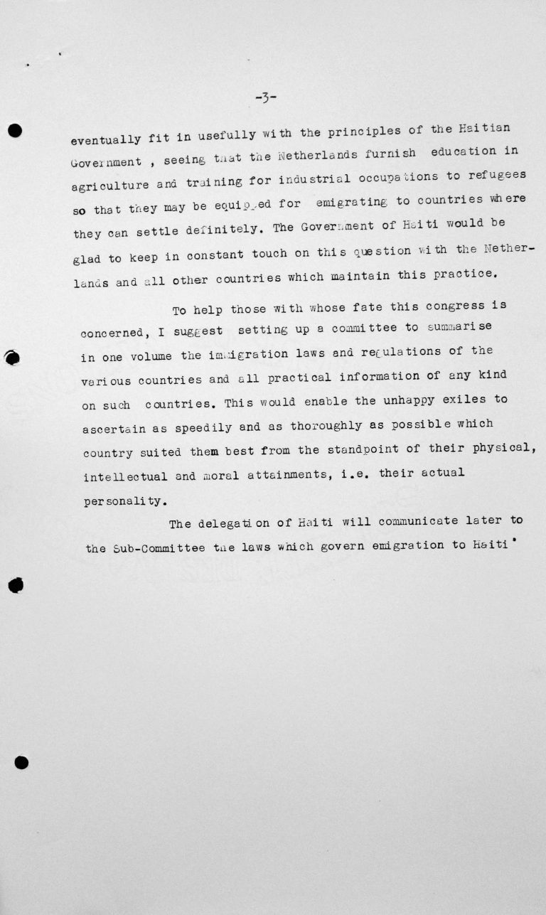 Speech by Léon R. Thébaud (Haiti) in the public session on July 11, 1938, 11am, p. 3/3 Franklin D. Roosevelt Library, Hyde Park, NY