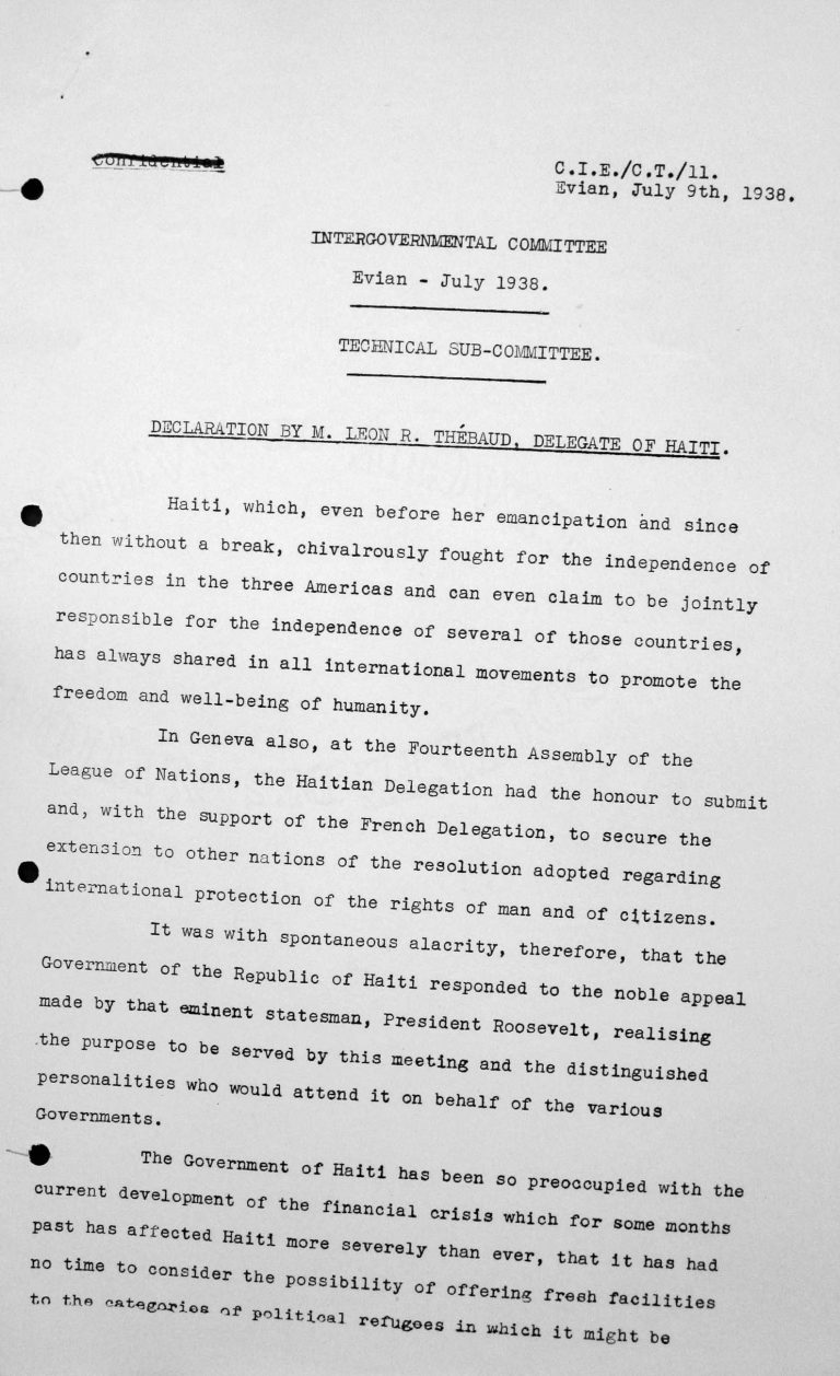 Declaration for the Technical Sub-Committee by Léon R. Thébaud, delegate of Haiti, July 9, 1938, p. 1/3 Franklin D. Roosevelt Library, Hyde Park, NY
