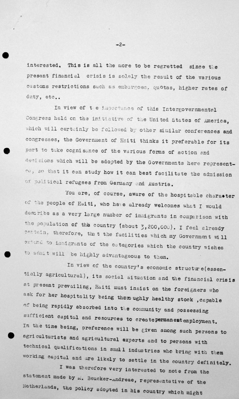 Declaration for the Technical Sub-Committee by Léon R. Thébaud, delegate of Haiti, July 9, 1938, p. 2/3 Franklin D. Roosevelt Library, Hyde Park, NY