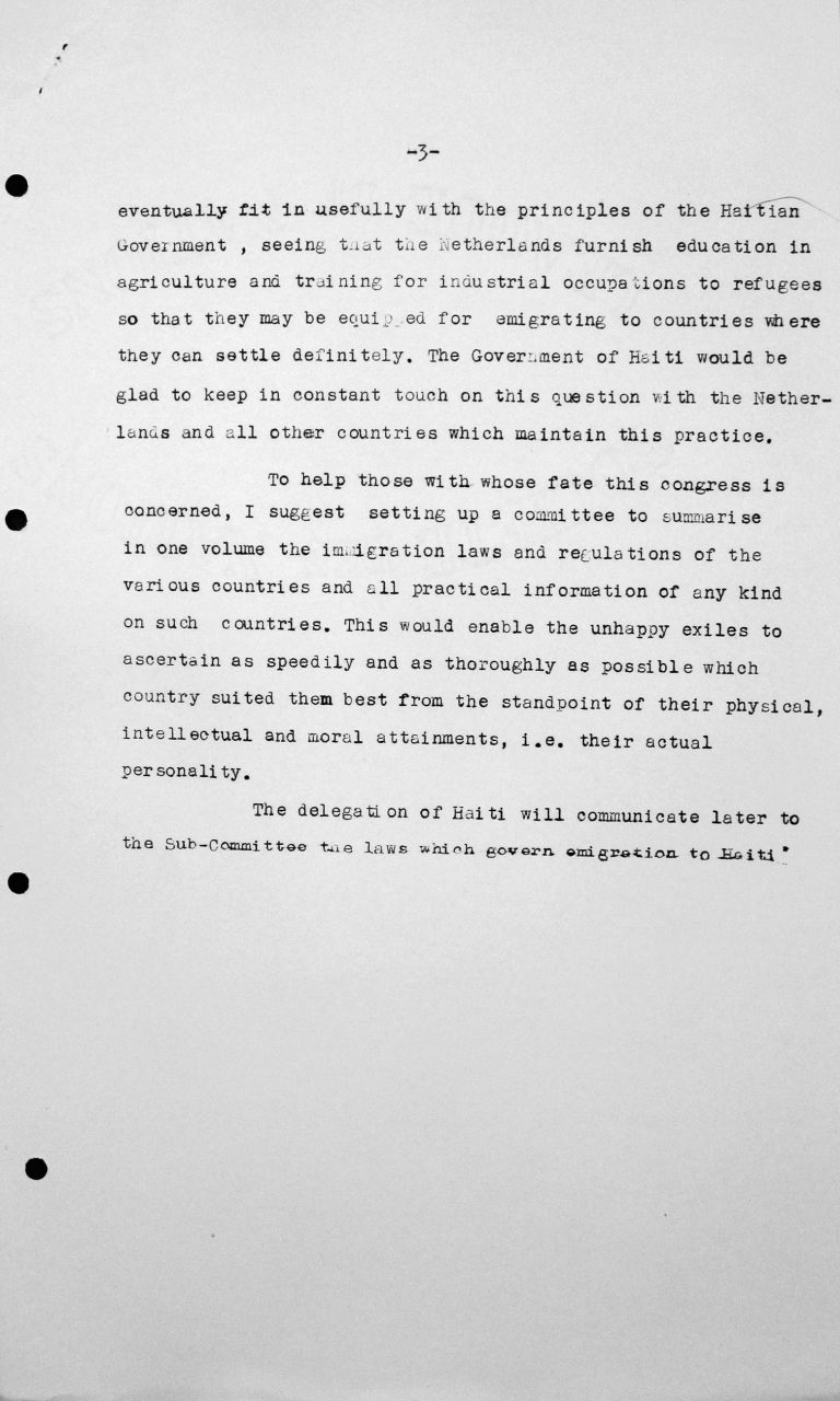 Declaration for the Technical Sub-Committee by Léon R. Thébaud, delegate of Haiti, July 9, 1938, p. 3/3 Franklin D. Roosevelt Library, Hyde Park, NY
