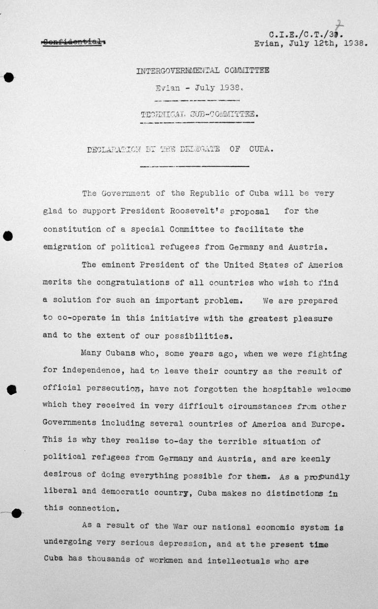 Erklärung des kubanischen Delegierten für das Technische Unterkomitee, 12. Juli 1938, S. 1/3 Franklin D. Roosevelt Library, Hyde Park, NY
