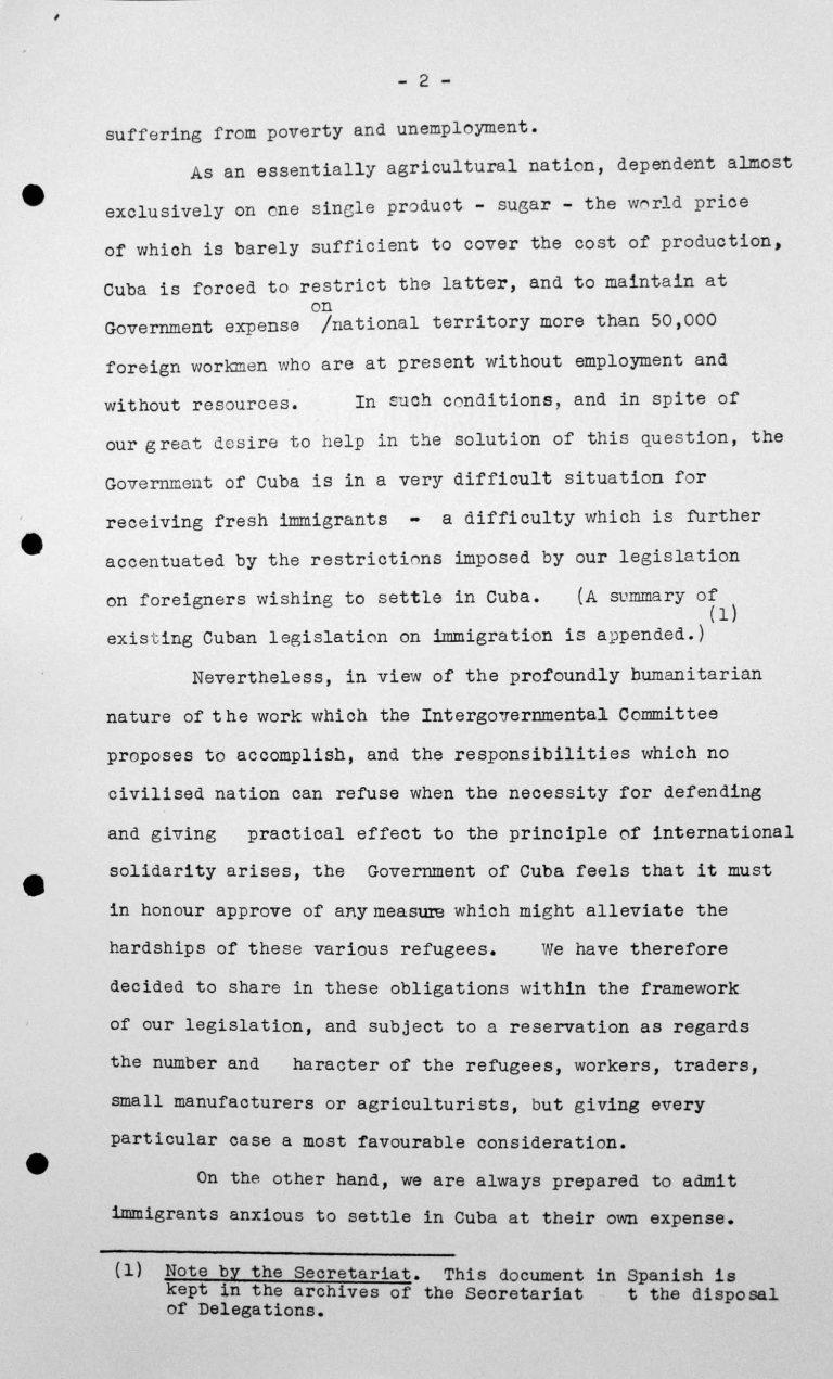 Erklärung des kubanischen Delegierten für das Technische Unterkomitee, 12. Juli 1938, S. 2/3 Franklin D. Roosevelt Library, Hyde Park, NY