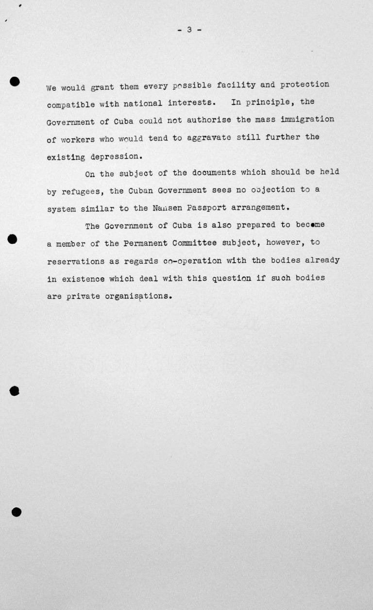 Erklärung des kubanischen Delegierten für das Technische Unterkomitee, 12. Juli 1938, S. 3/3 Franklin D. Roosevelt Library, Hyde Park, NY