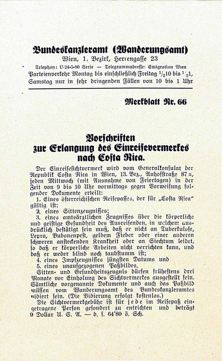 Vorschriften zur Erlangung des Einreisevermerks nach Costa Rica, Österreichisches Bundeskanzleramt, 1938, S. 1 Österreichisches Staatsarchiv, Wien