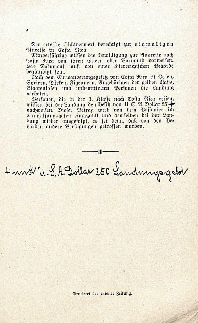 Vorschriften zur Erlangung des Einreisevermerks nach Costa Rica, Österreichisches Bundeskanzleramt, 1938, S. 2 Österreichisches Staatsarchiv, Wien