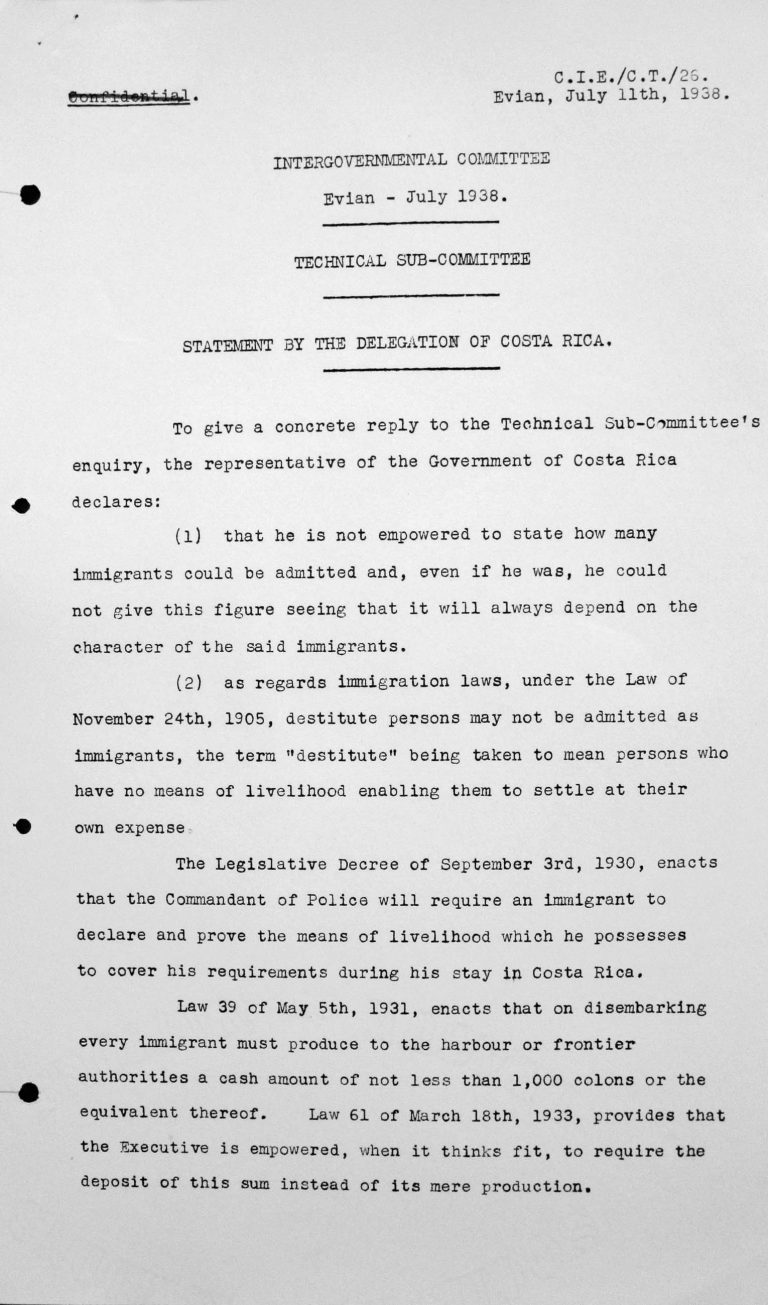 Stellungnahme der Delegation von Costa Rica für das Technische Unterkomitee, 11. Juli 1938, S. 1/2 Franklin D. Roosevelt Library, Hyde Park, NY