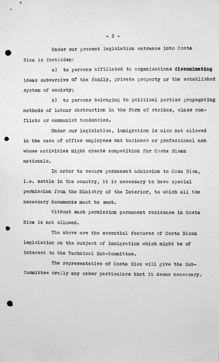 Stellungnahme der Delegation von Costa Rica für das Technische Unterkomitee, 11. Juli 1938, S. 2/2 Franklin D. Roosevelt Library, Hyde Park, NY