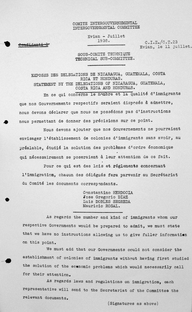 Stellungnahme der Delegationen von Nicaragua, Guatemala, Costa Rica und Honduras für das Technische Unterkomitee, 11. Juli 1938 Franklin D. Roosevelt Library, Hyde Park, NY