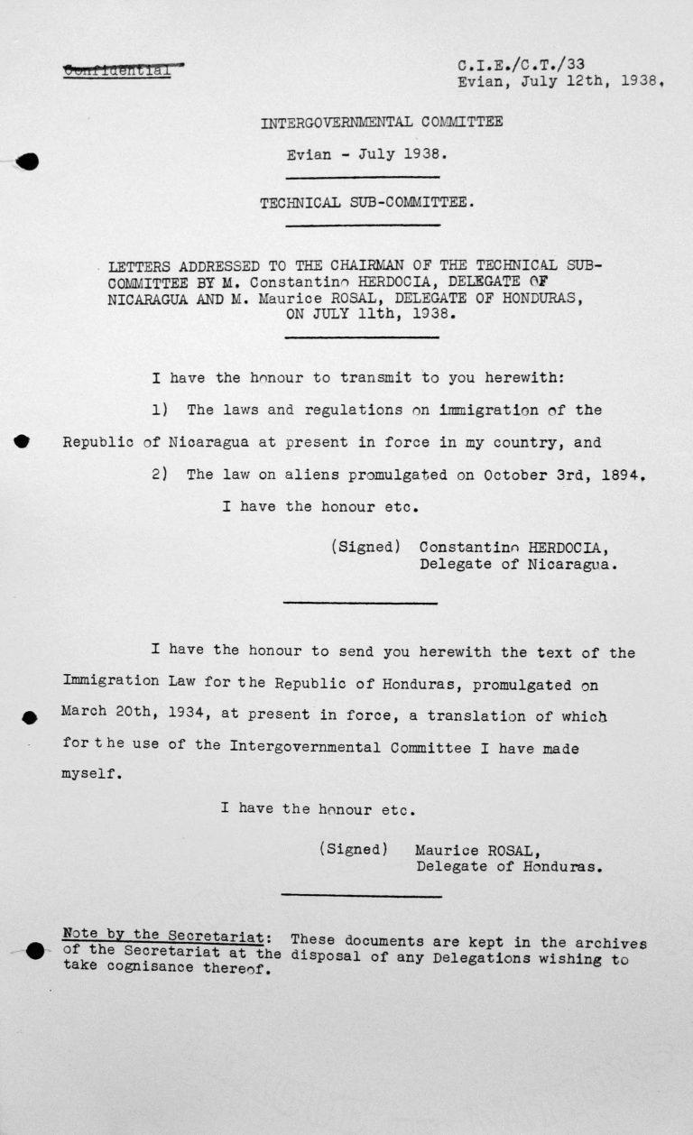 Schreiben an den Vorsitzenden des Technischen Unterkomitees von Dr. Constantino Herdocia, Delegierter Nicaraguas, und Dr. Mauricio Rosal, Delegierter von Honduras, vom 11. Juli 1938 Franklin D. Roosevelt Library, Hyde Park, NY