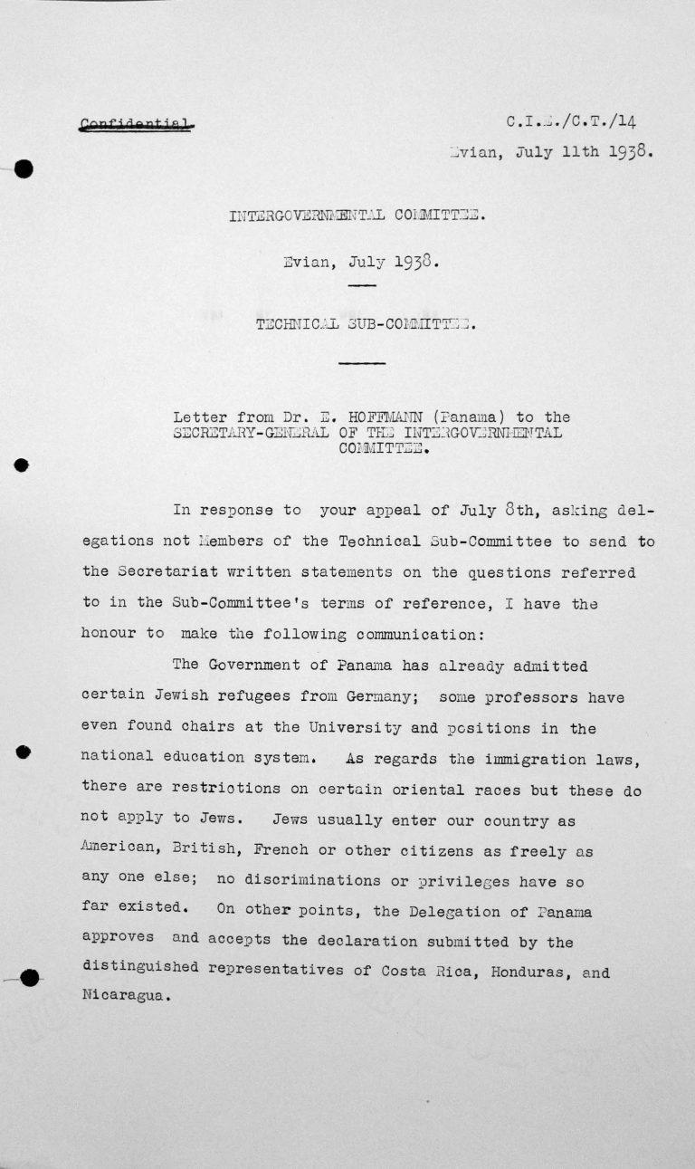 Schreiben von Dr. Ernesto Hoffmann (Panama) an den Generalsekretär des Zwischenstaatlichen Komitees, 11. Juli 1938 Franklin D. Roosevelt Library, Hyde Park, NY