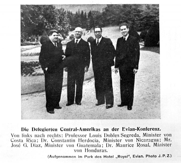 Die Delegierten Zentralamerikas (rechts: Mauricio Rosal Bron) Jüdische Presszentrale Zürich, 15. Juli 1938 / Archiv für Zeitgeschichte / ETH Zürich