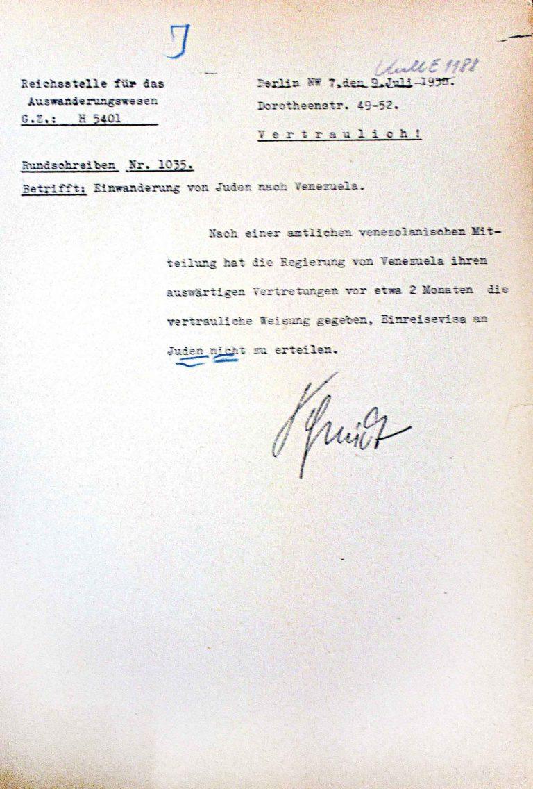 Reichsstelle für das Auswanderungswesen: Rundschreiben Nr. 1035, 9. Juli 1938 Auswärtiges Amt/ Politisches Archiv, Berlin, R 127880