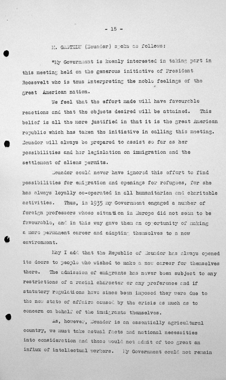 Rede von Alejandro Gastelú Concha (Ecuador) in der öffentlichen Sitzung am 9. Juli 1938, 11 Uhr, S. 1/2 Franklin D. Roosevelt Library, Hyde Park, NY