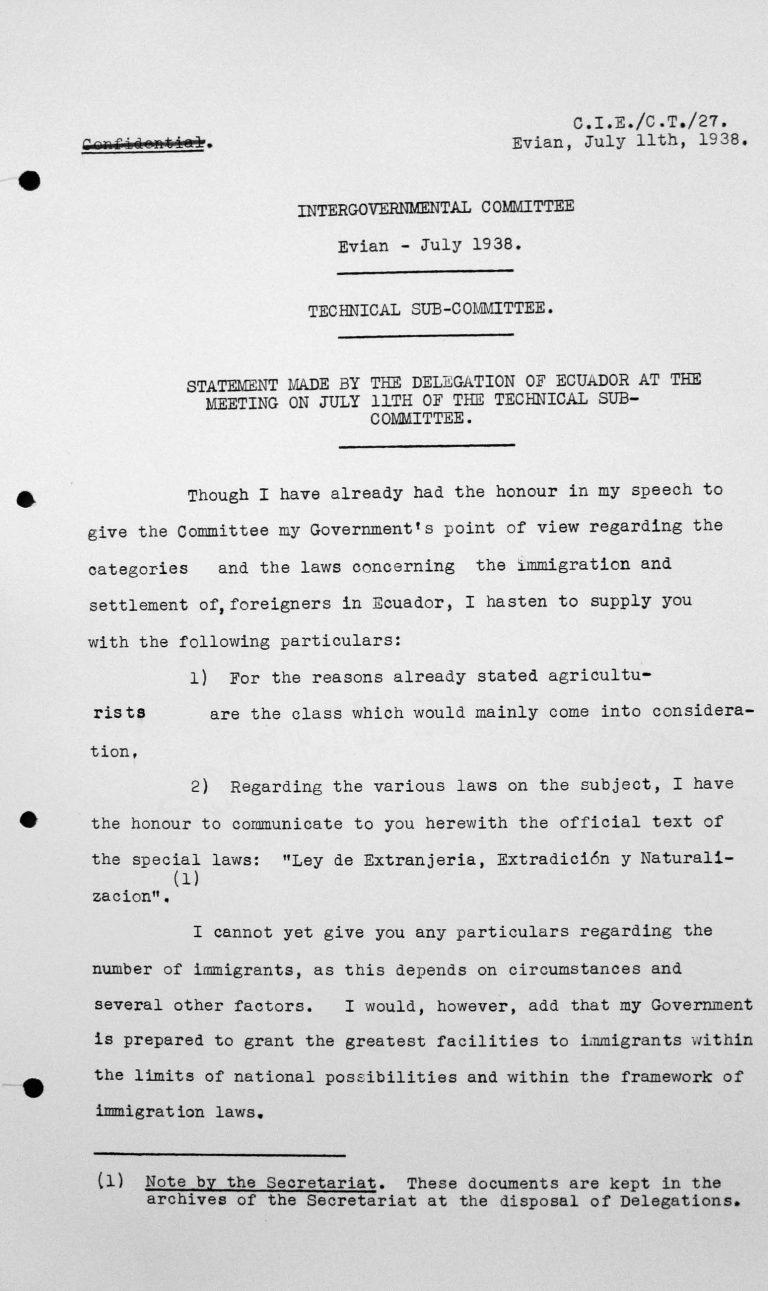 Stellungnahme der Delegation Ecuadors bei der Sitzung des Technischen Unterkomitees am 11. Juli 1938 Franklin D. Roosevelt Library, Hyde Park, NY