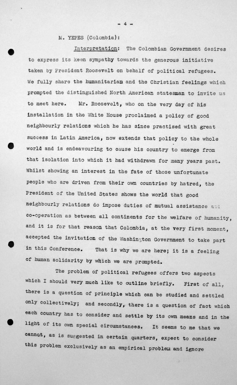 Rede von Jesús María Yepes Herrera (Kolumbien) in der öffentlichen Sitzung am 9. Juli 1938, 11 Uhr, S. 1/8 Franklin D. Roosevelt Library, Hyde Park, NY