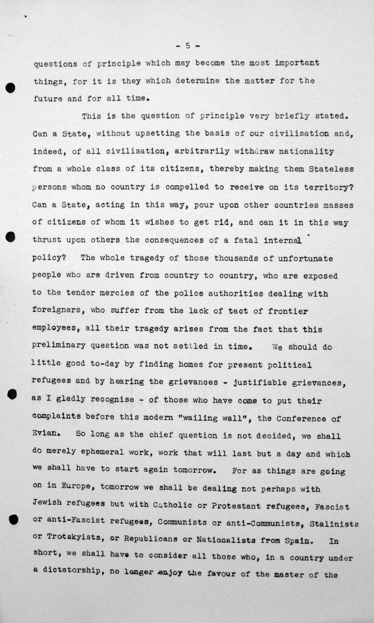 Rede von Jesús María Yepes Herrera (Kolumbien) in der öffentlichen Sitzung am 9. Juli 1938, 11 Uhr, S. 2/8 Franklin D. Roosevelt Library, Hyde Park, NY