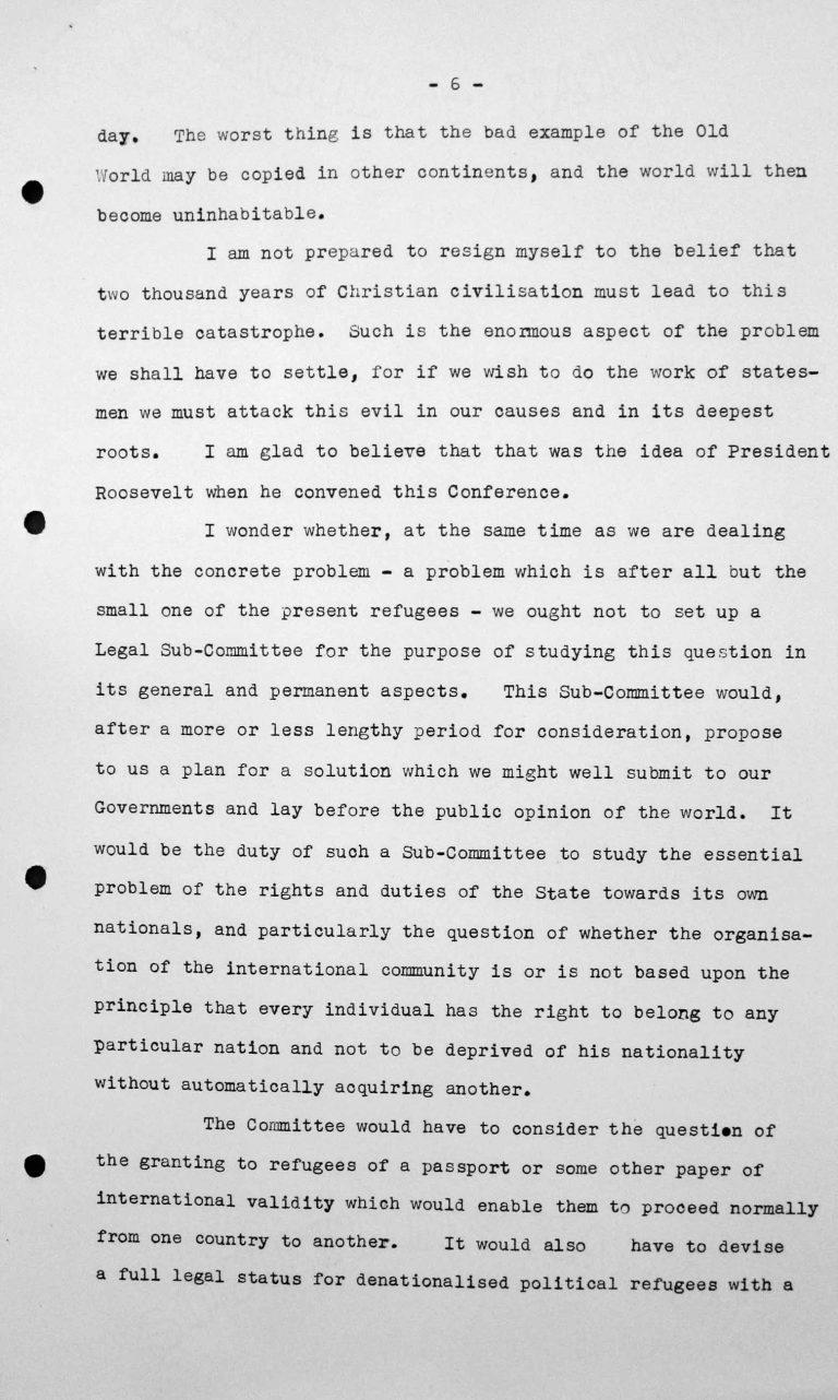 Rede von Jesús María Yepes Herrera (Kolumbien) in der öffentlichen Sitzung am 9. Juli 1938, 11 Uhr, S. 3/8 Franklin D. Roosevelt Library, Hyde Park, NY