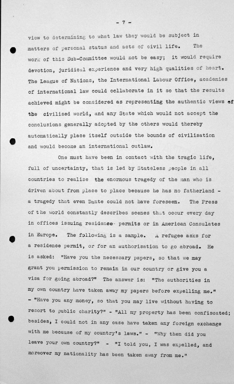Rede von Jesús María Yepes Herrera (Kolumbien) in der öffentlichen Sitzung am 9. Juli 1938, 11 Uhr, S. 4/8 Franklin D. Roosevelt Library, Hyde Park, NY