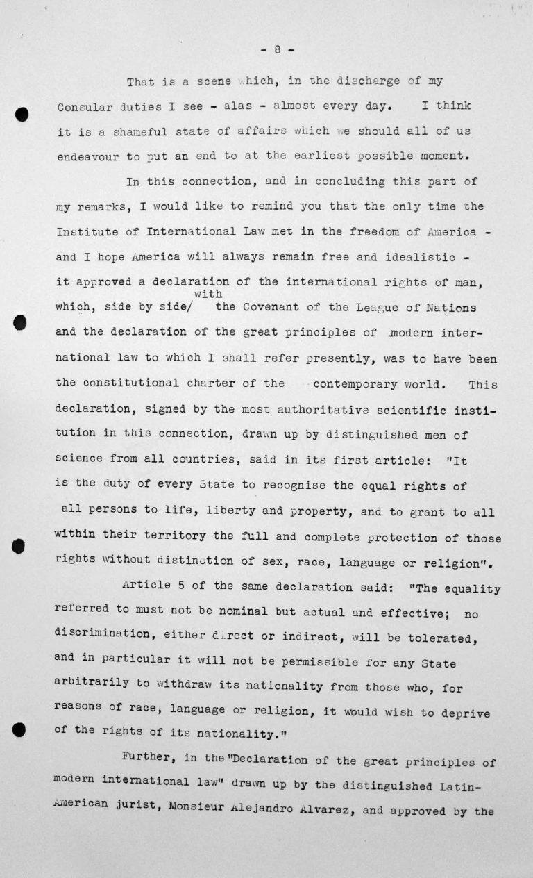 Rede von Jesús María Yepes Herrera (Kolumbien) in der öffentlichen Sitzung am 9. Juli 1938, 11 Uhr, S. 5/8 Franklin D. Roosevelt Library, Hyde Park, NY