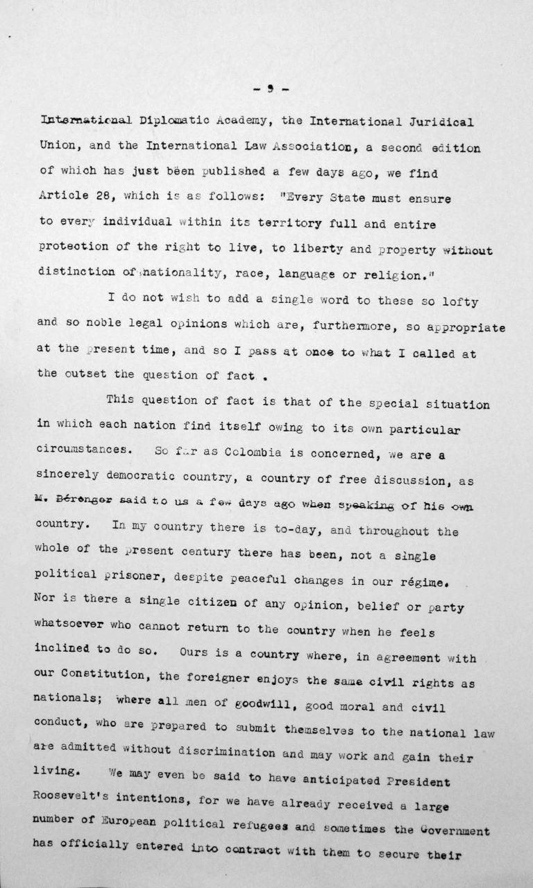 Rede von Jesús María Yepes Herrera (Kolumbien) in der öffentlichen Sitzung am 9. Juli 1938, 11 Uhr, S. 6/8 Franklin D. Roosevelt Library, Hyde Park, NY