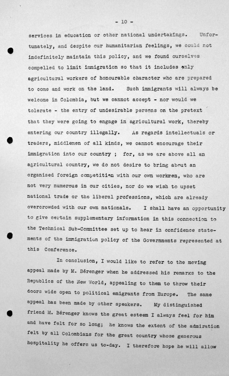 Rede von Jesús María Yepes Herrera (Kolumbien) in der öffentlichen Sitzung am 9. Juli 1938, 11 Uhr, S. 7/8 Franklin D. Roosevelt Library, Hyde Park, NY