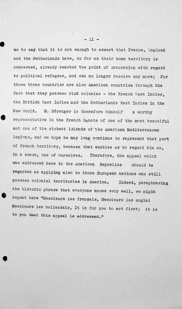 Rede von Jesús María Yepes Herrera (Kolumbien) in der öffentlichen Sitzung am 9. Juli 1938, 11 Uhr, S. 8/8 Franklin D. Roosevelt Library, Hyde Park, NY