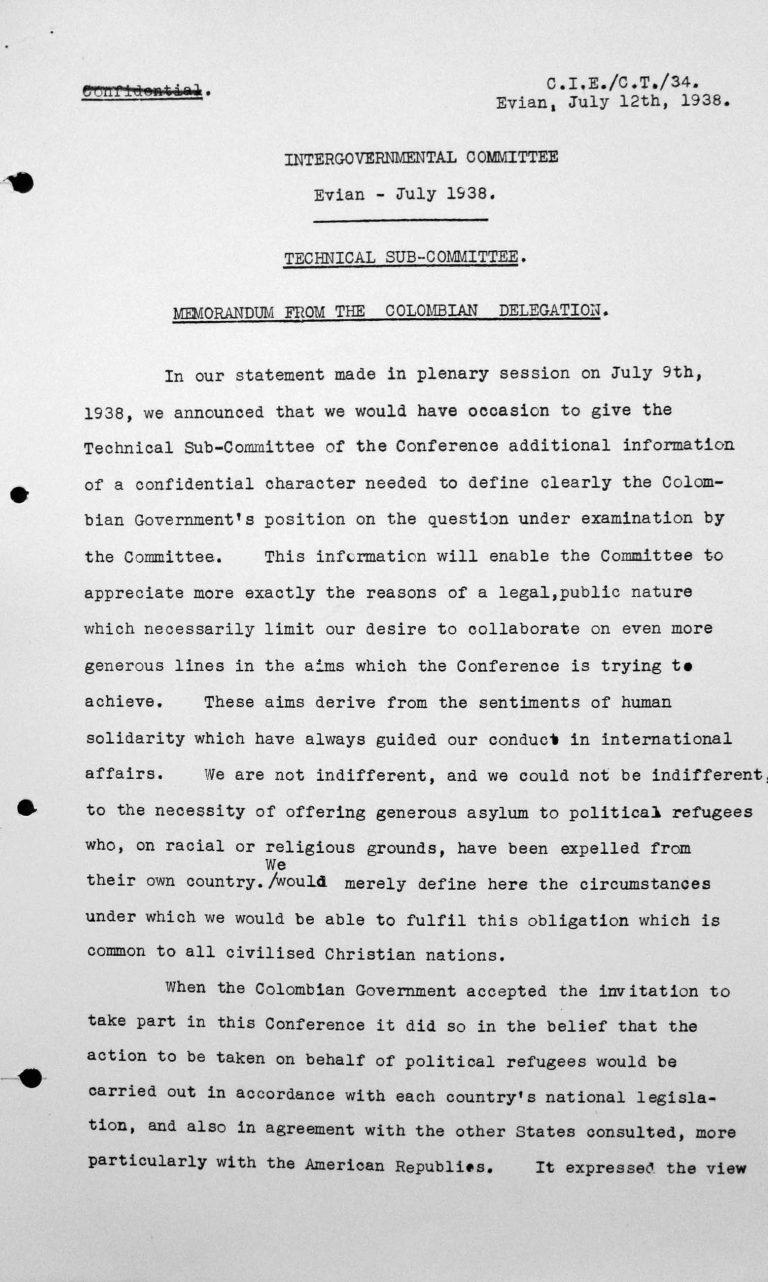 Denkschrift der Delegation Kolumbiens für das Technische Unterkomitee, 12. Juli 1938, S. 1/6 Franklin D. Roosevelt Library, Hyde Park, NY