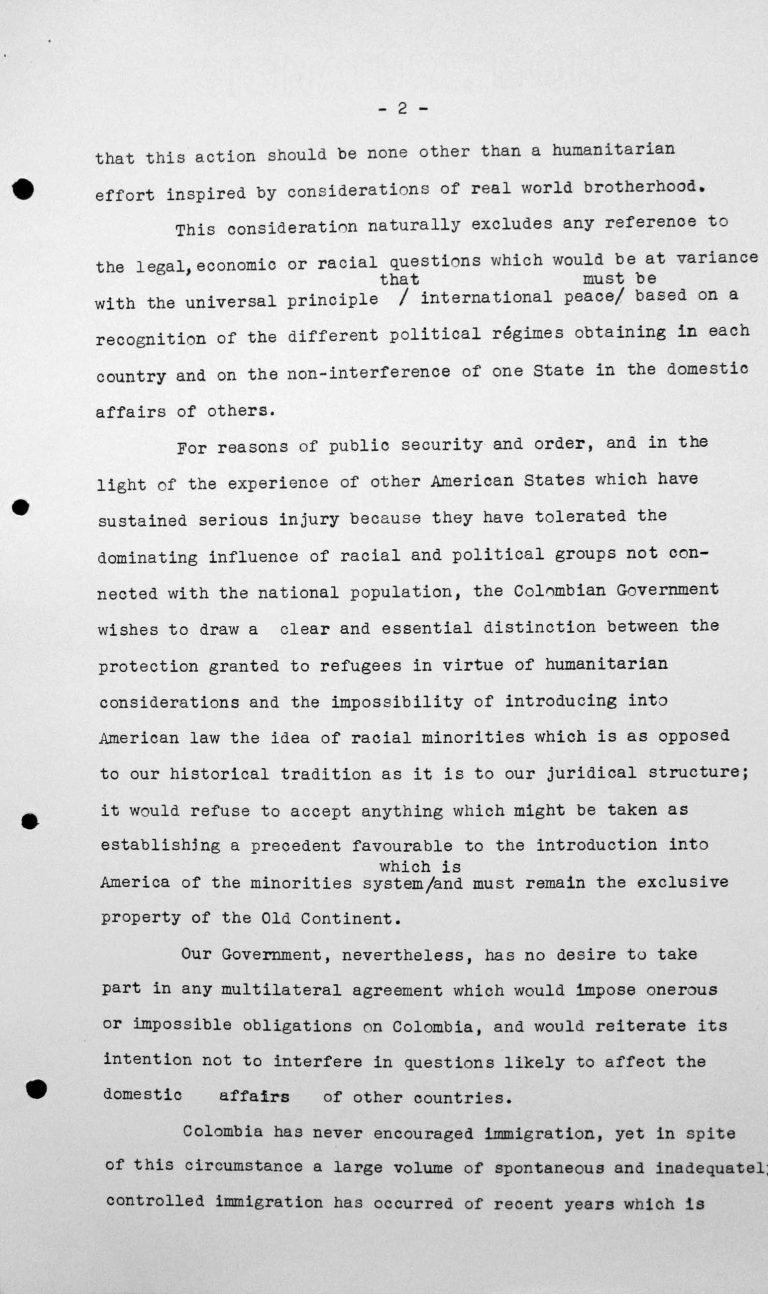 Denkschrift der Delegation Kolumbiens für das Technische Unterkomitee, 12. Juli 1938, S. 2/6 Franklin D. Roosevelt Library, Hyde Park, NY