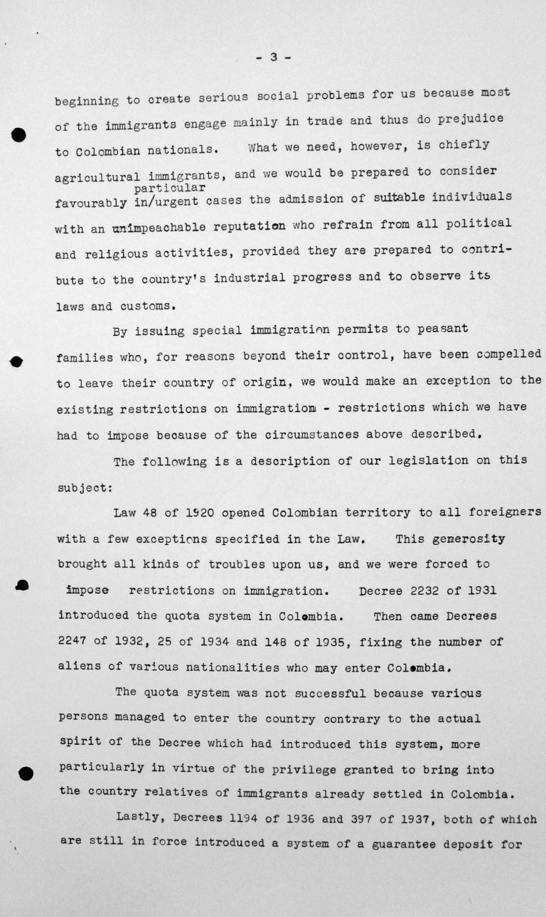 Denkschrift der Delegation Kolumbiens für das Technische Unterkomitee, 12. Juli 1938, S. 3/6 Franklin D. Roosevelt Library, Hyde Park, NY