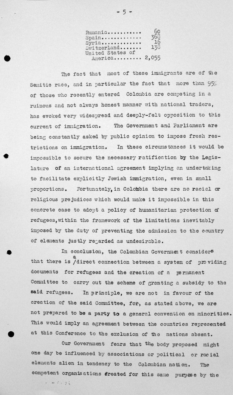 Denkschrift der Delegation Kolumbiens für das Technische Unterkomitee, 12. Juli 1938, S. 5/6 Franklin D. Roosevelt Library, Hyde Park, NY