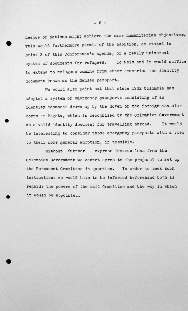Denkschrift der Delegation Kolumbiens für das Technische Unterkomitee, 12. Juli 1938, S. 6/6 Franklin D. Roosevelt Library, Hyde Park, NY