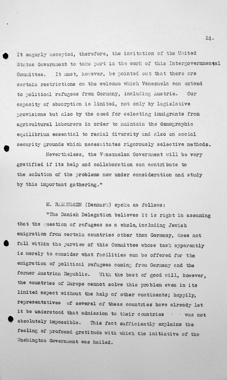 Declaration by Carlos Aristimuno Coll (Venezuela) in the public session on July 9, 1938, 11am, pp. 2/2 Franklin D. Roosevelt Library, Hyde Park, NY