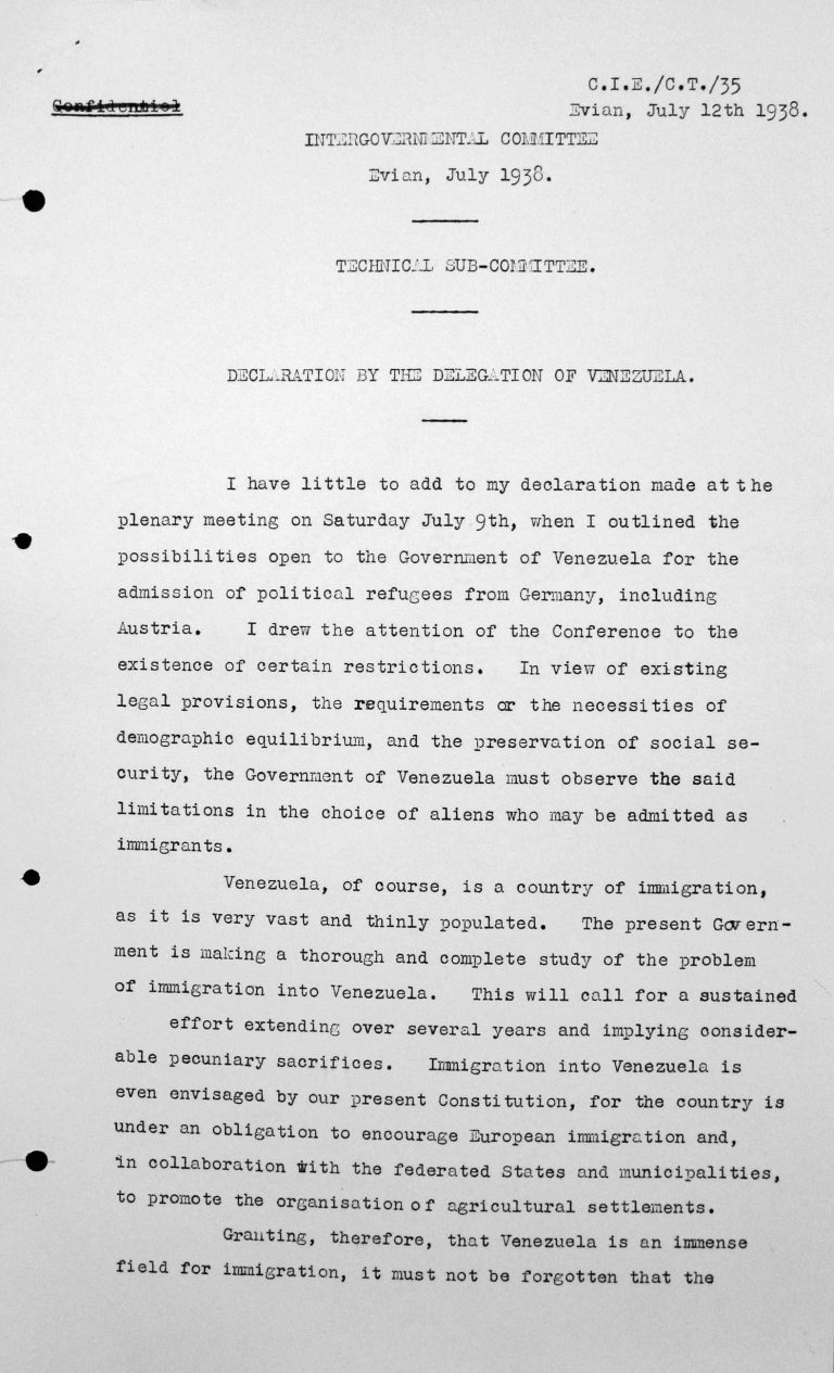 Declaration by the delegation of Venezuela to the Technical Sub-Committee, 12. Juli 1938, pp. 1/2 Franklin D. Roosevelt Library, Hyde Park, NY