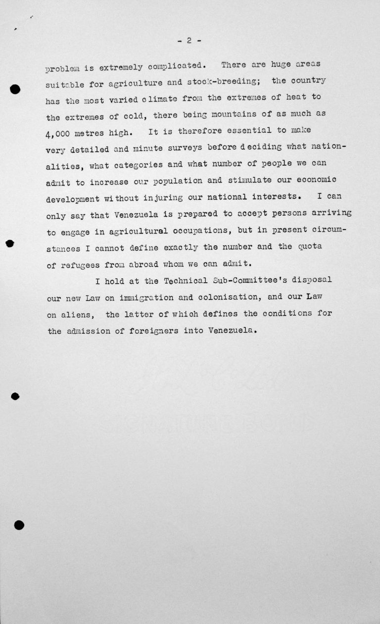 Declaration by the delegation of Venezuela to the Technical Sub-Committee, 12. Juli 1938, pp. 2/2 Franklin D. Roosevelt Library, Hyde Park, NY