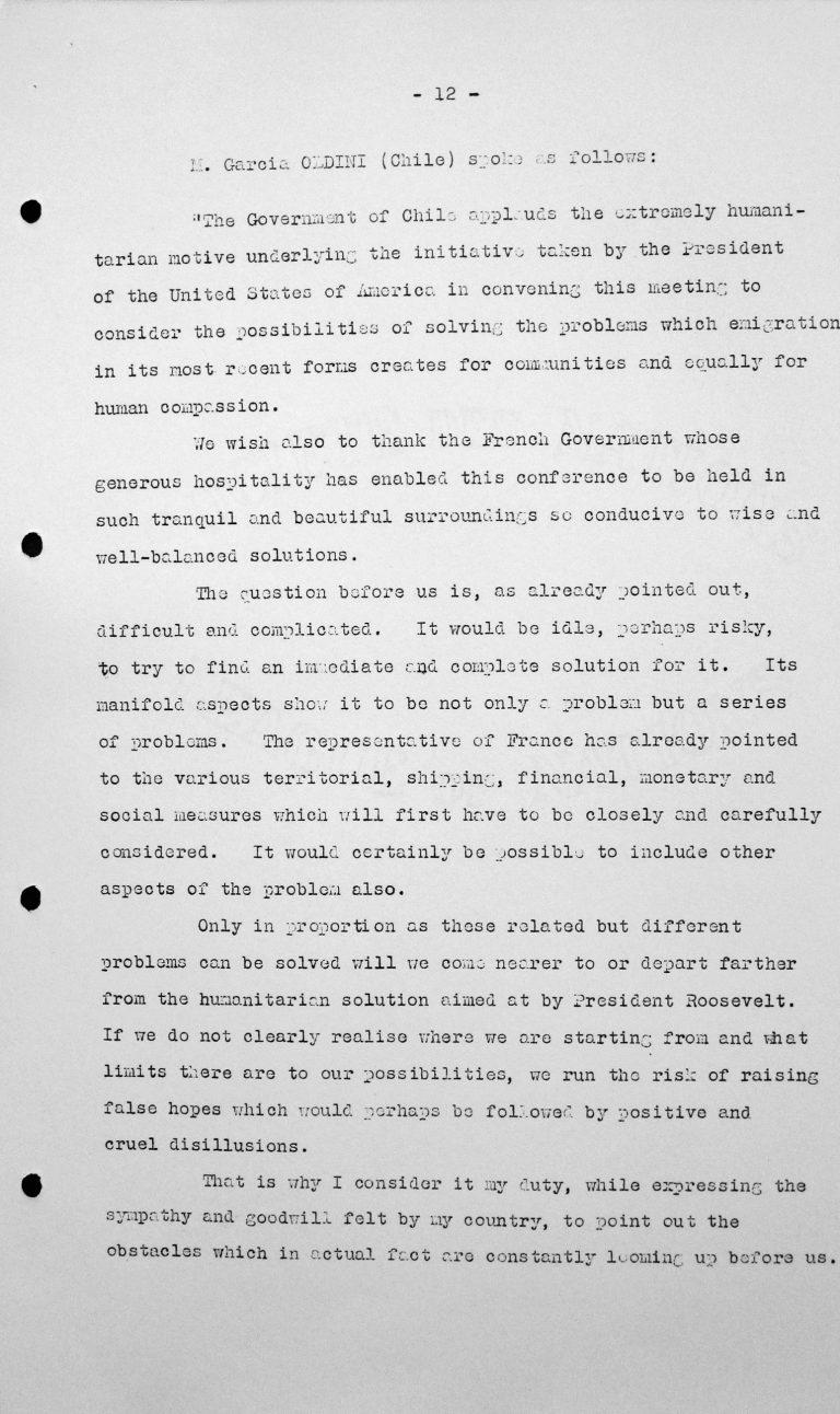 Rede von Fernando Garcia Oldini (Chile) in der öffentlichen Sitzung am 9. Juli 1938, 11 Uhr, S. 1/3 Franklin D. Roosevelt Library, Hyde Park, NY