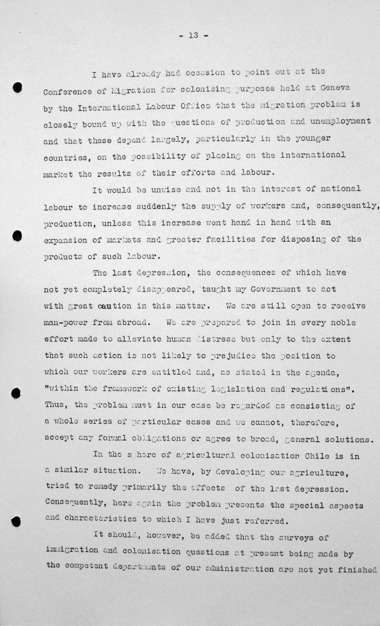 Rede von Fernando Garcia Oldini (Chile) in der öffentlichen Sitzung am 9. Juli 1938, 11 Uhr, S. 2/3 Franklin D. Roosevelt Library, Hyde Park, NY