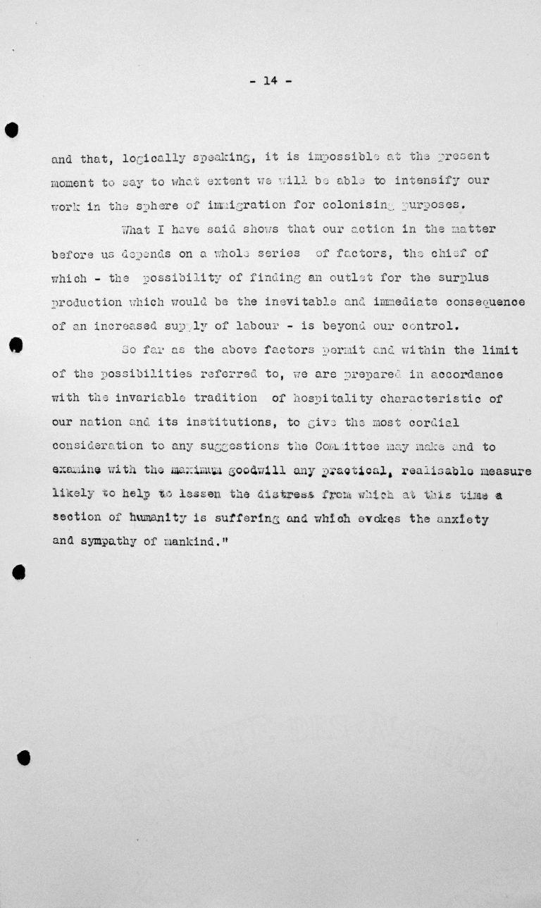 Rede von Fernando Garcia Oldini (Chile) in der öffentlichen Sitzung am 9. Juli 1938, 11 Uhr, S. 3/3 Franklin D. Roosevelt Library, Hyde Park, NY